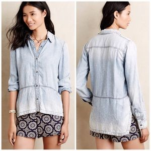 Anthropologie Holding Horses Ombré Chambray Top